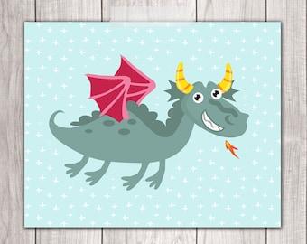 Dragon Nursery - 8x10 Baby Boy Nursery Art, Dragon Wall Art, Nursery Decor, Nursery Wall Art, Dragon Print