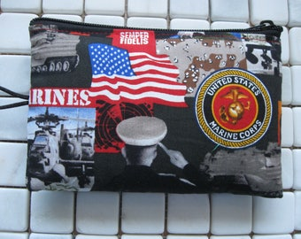 marines military themed padded zipper pouch