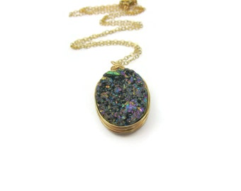 Rainbow Druzy Necklace Druzy Geode Quartz Unicorn Druzy Gold Filled Wire Wrapped Peacock Druzy Oval Pendant Crystal Necklace Gift Idea