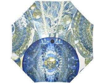 Tree of life Artistic umbrella- Large and automatic foldable umbrella- Rain and sun- customizable-Handpainted design