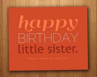 Little Sister Funny Birthday Card (Printable)