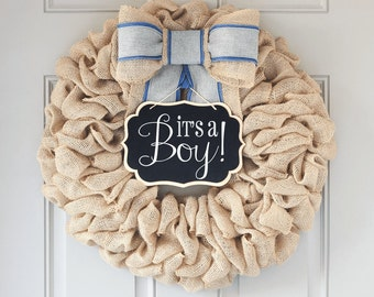 Its a Boy Wreath, Baby Boy Wreath with Sign for Baby Shower Decorations, Gender Reveal Party, Hospital Door Baby Wreath for New Mom