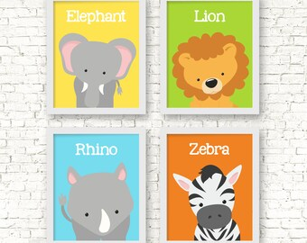 Jungle Animals Wall Decor, Jungle Nursery Decor, Jungle Animal Sign, Baby Gift, Baby Nursery Art, Kids Bedroom Wall Decor, Kids Art, A-4047
