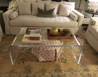 "Clear Lucite Acrylic 1"" Thick Coffee Table"
