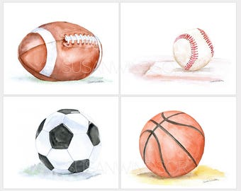 Watercolor Sports Art Prints Nursery Childrens Room Set of 4 Football Baseball Soccer Ball and Basketball LANDSCAPE Orientation