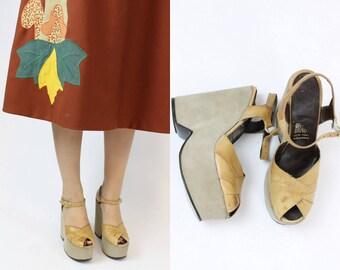 1970s Shoes Fred Braun Platforms Size 7.5 /  70s Vintage Wedges /  Harlem Nights Shoes