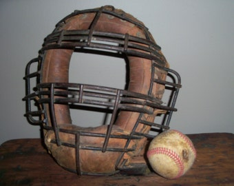 CLEARANCE Antique Baseball Catcher's Mask Leather and Iron Sports Equipment