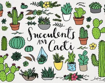 Succulents & Cacti Clipart Set - terrarium clipart, saguaro clipart, potted plants clip art, succulent wreath dividers, houseplants clipart