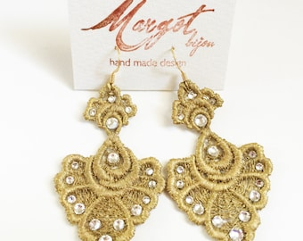Gold Lace Earrings/Swarovski Crystals/Top trend Fall/Winter 2015/Fashion Statement Earrings/Women Christmas Earrings/ Chandelier Earrings