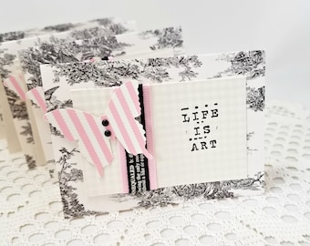 Life is Art Note Cards - Black and Pink Note Cards - Note Card Set - Black and Ivory Toile Note Cards - Set of Four Toile Note Cards