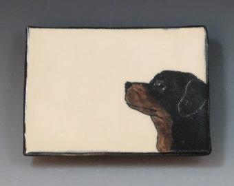 Handbuilt Ceramic Soap Dish with Dog - Rottweiler