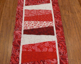 """Valentine's Day Table Runner, Handmade, Quilted,  15 x 54""""  Long, February Decor"""