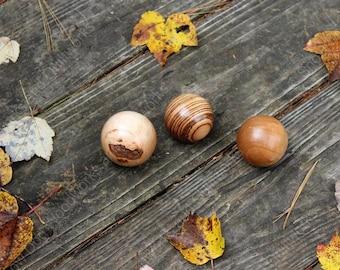 "BO2 - Solid Wood Spheres - 2"" inch Diameter. Assorted Woods Set of 3 - Zebra Wood, Maple Wood, Cherry Wood, Hand Turned Wood Ball,Home Decor"