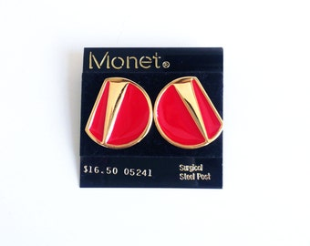 Vintage Geometric Earrings / Monet / Gold Tone and Red