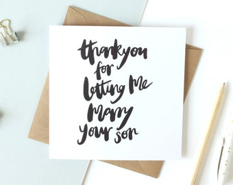 Thank you card 'thank you for letting me marry your son' - hand lettered card / brush lettered card / wedding greetings card