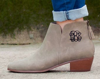 Taupe Hudson Short Monogrammed Boot, Monogrammed Boot, Monogrammed Bootie, Short Monogrammed Boot, Taupe Boot, Hudson Boot,