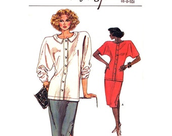 80s Dolman Sleeve Top, Slim Skirt Pattern Vogue 9510 Two Piece Dress Size 6 8 10 Vintage Sewing Pattern for Women