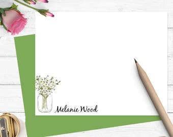 Daisy personalized note cards, Personalized stationery,Stationary for her, flat note cards,custom notecards,thank you cards, set of 10,PS014