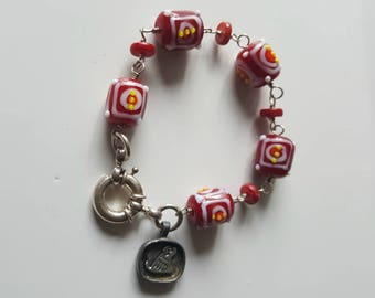 Red Lamp Work Bead and Coral Bracelet