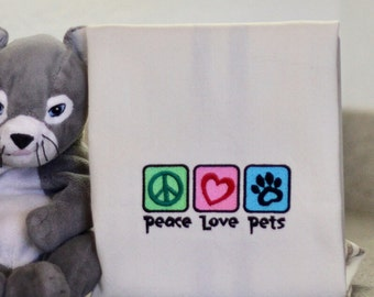 Peace Love Pets Embroidered Towel
