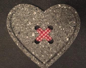 Heart Button Coaster  Dark Speckled Grey