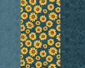 NEW Sunshine Garden Sunflower Quilt 100% Cotton Fabric  Three Cuts Navy Sunflowers