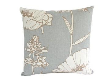 Kravet Light Blue Poppyfiled Pillow Cover with Large Flower