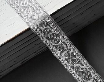 2-yards 7/8'' (21mm) Metallic Silver Jacquard Ribbon Trim, SMB-1002B