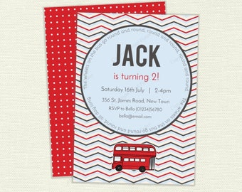 Wheels on the Bus birthday party Invitation - customised printable invite, red London bus - IN039