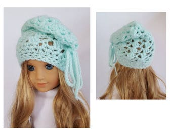 "Crocheted hat fits 18"" dolls such as American Girl"