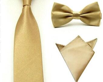 Gold Tie, Bow Tie & Pocket Square   skinny tie   gold tie set   wedding tie   wedding ideas   ideas   groom   gold bow tie   wedding set
