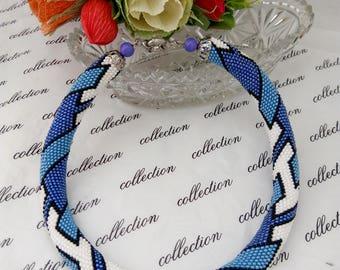 Crochet Beaded Necklace Geometric Pattern - Tetris Necklace Beaded Necklace -multi color Blue white black Handmade, crochet Jewelry Necklace