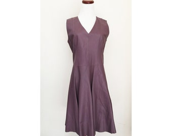 The ALICE Dress - Medium - A-line Mauve Purple Leather Dress Sleeveless V-Neck . US Free Shipping