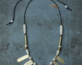 ASTRID statement necklace - hammered brass, bone and handmade african bead