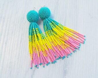 Ombre Tassel Earrings - Bohemian Fringe Boho Gipsy Tassel Earrings - Chandelier Statement Drop Summer Earrings - Party Handmade Earrings