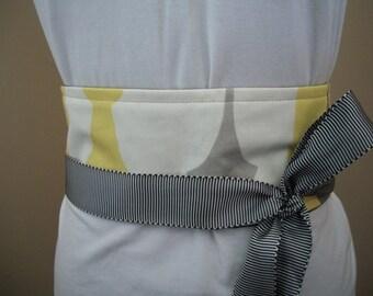 SALE ~ Obi Wrap Belt ~  Gray and Yellow Modern Silhouettes ~ Sash  Wrap & Tie Belt