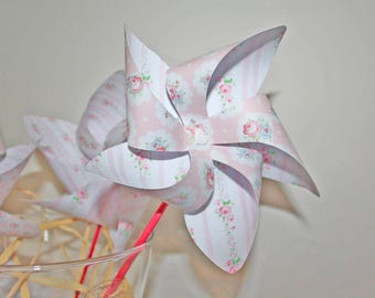 Set of 5 pinwheels for baptism, birthday decor, kids party