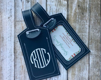 Monogram luggage tag - personalized luggage tag - faux leather luggage tag - groomsman gift - bridesmaid gift