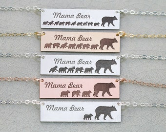 Mama Bear Necklace • Mother's Day Gift Mama Bear Bar Necklace Mama Baby Necklace Mom Baby Bear Cub Mama Bear Jewelry Mom New Mom Gift