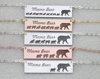 Mama Bear Necklace • Mother's Day Gift Mama Bear Bar Necklace Mama Baby Necklace Mom Baby Bear Cub Mama Bear Jewelry Mom New Mom Gift