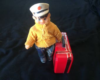 Vintage Tin Toy, Wind Up Toy, Man Carrying a Suitcase - 1970