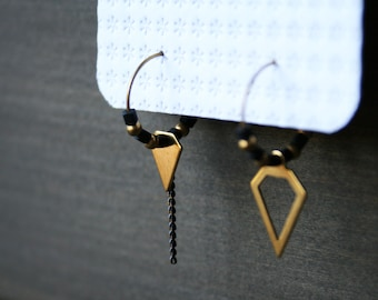 Mismatched earrings asymmetric earrings small hoop earrings beaded hoops gold black earrings geometric diamond brass jewelry -DuskEarrings