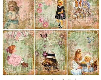 Instant Download  - Childhood Memories - ACEO - Digital Download - Printable  Digital Collage Sheet