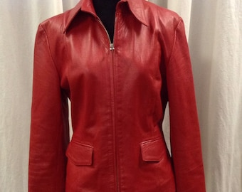 L'Equipe French Designer Vintage Red Leather Scuba Jacket Size Small