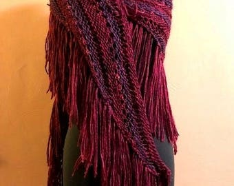 Triangle Shawl/Scarf with Fringe - Purple, Hand Knit, Statement Accessory, All Season