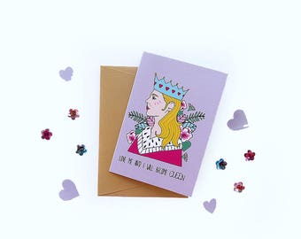 Greetings cards by Marta Fofi, Queen, valentines card, valentine's gift, cards, postcards