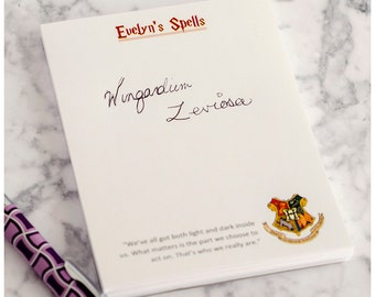 Customized Harry Potter Hogwards Note Pad with 6 Quotes