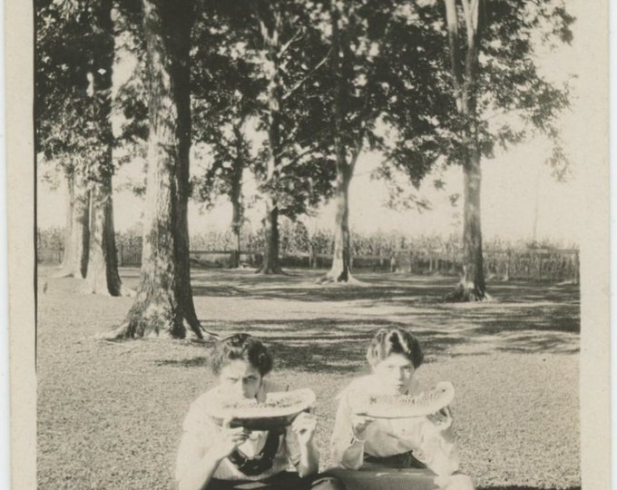 "Vintage Snapshot Photo: ""Our Front lawn Hollie & Eugenia they look awfully hungry, don't they!"" (87698)"