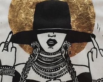 Beyonce Icon Linocut Print