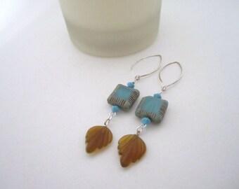 Square Beadwork Earrings with Leaf Charm Earrings